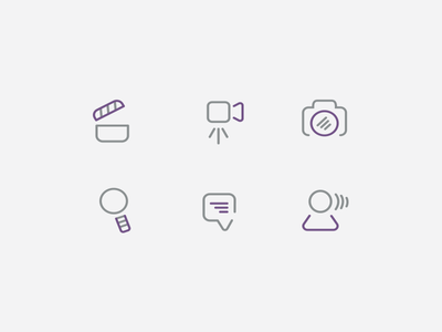 knack icons monoline icons custom icons icon design clapper video clapper strategy people connection talk chat magnifying glass camera lens camera video