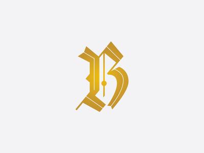 blackletter B graveyard custom lettering lettering typography fancy gold capital b inline b calligraphy blackletter