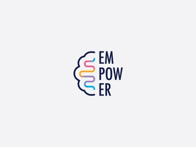 Empower psychology logo logo branding brain logo brain waves mental health wellness empower psychology brain
