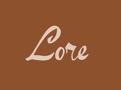 Lore logo graveyard script l custom logo typography dayton storytelling lore logo design custom lettering logotype logo lettering