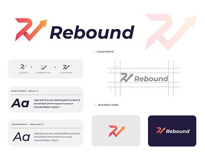Rebound Letter/R Logo symbol lettering playing logo jump logo rebound logo letter logo r logo design modern lettermark icon logodesign logo branding vector abstract monogram