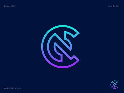 C + N Letter Logo n c creative concept typogaphy lettermark branding abstract 3d logo design gradient letter logo app logo icon vector logo cn logo logotype
