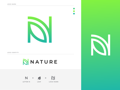 Nature /  N + Leaf Letter Mark Logo Design leaf abstract creative n letter logo monograme n lettermark modern logo icon logo tree logo leaf logo n logo design nature n logo nature n logo n letter mark logo n logo