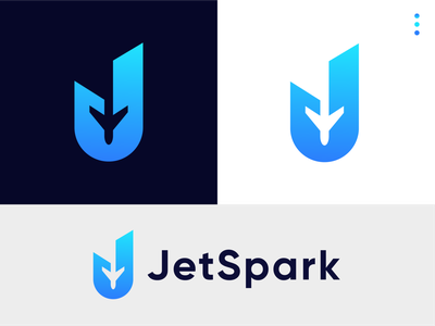 JetSpark / J Letter Combination Logo transport aircraft sky air fly aviation travel modern logo gradient logotype vector branding lettermark monogram abstract statup j j logo j letter