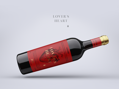 Wine label minimal label minimal packaging alcohol distillery branding packaging gold red anatomical heart anatomy wine label