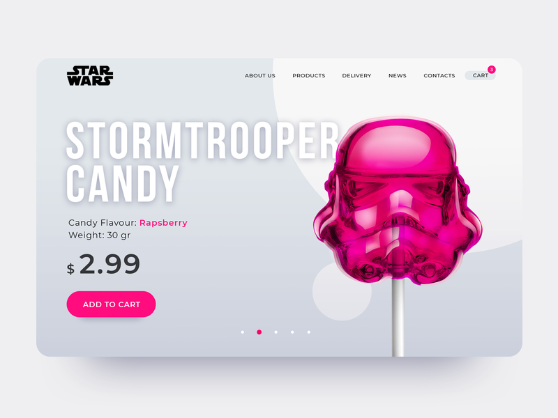 Stormtrooper candy single page singlepage product card product page simple pink concept design stormtrooper illustration sketch star wars starwars ui ui  ux design branding