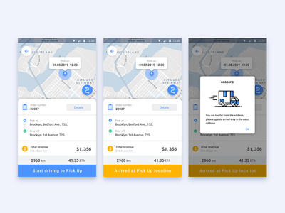 Delivery App Screens yellow blue notifications icons map delivery mobile android app design android app app ui  ux