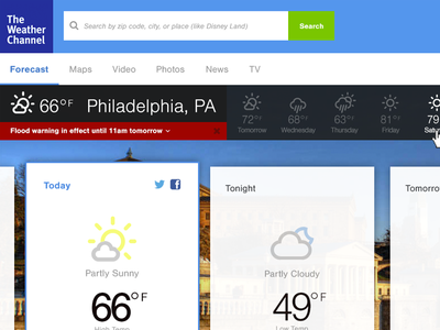 Weather Channel – Redesign WIP (@2x) ui web design weather icons flat clean weather.com wip
