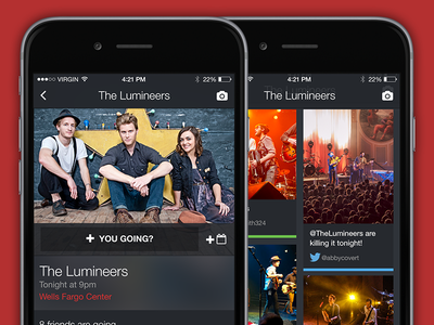 Decibly v2 ui concept mobile iphone app concert music fan artists labels