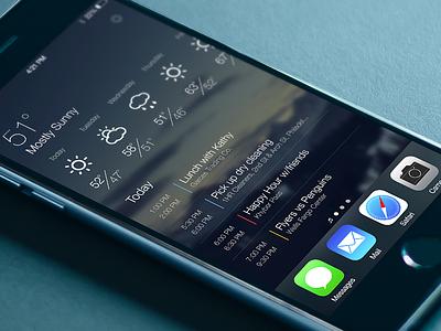 iOS Springboard Widget ios apple iphone widget weather calendar events springboard