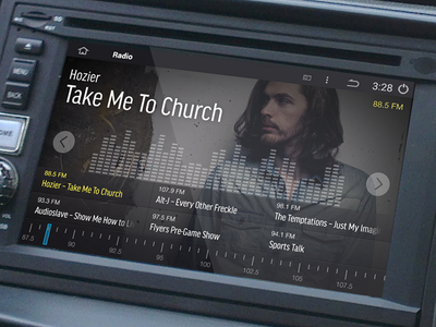 Android In-Car Radio UI ui dashboard radio car smart hozier music audio android google