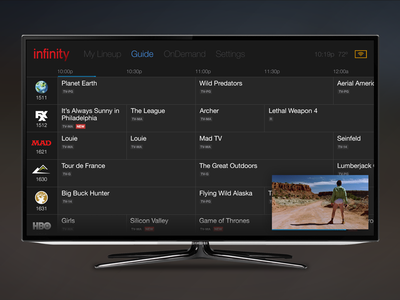 Cable TV ui tv television smart cable guide