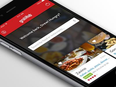 GrubHub wip redesign grubhub food app ios iphone