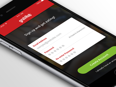 GrubHub Signup dailyui redesign grubhub food app ios iphone