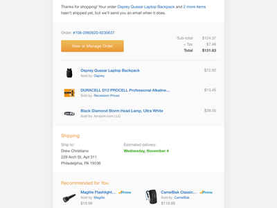 Amazon Order Confirmation Email shopping cart shipping ecommerce confirmation email amazon