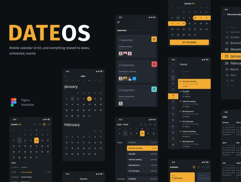 DateOs - Calendar UI Kit days interface timeline time clean app figma year day week period schedule booking events ui calendar date picker date ui kit