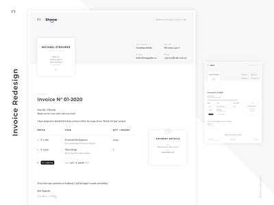 Freelancer Invoice Redesign branding minimalist white adobe xd print rechnung freelancer designlanguage invoice minimal design