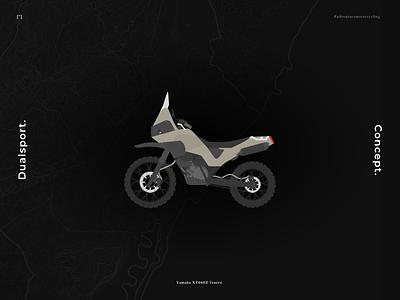 Dualsport Enduro Motorcycle Concept (Yamaha XT660Z Ténéré) flat design flat illustration concept black adventure enduro motorbike motorcycle vector flat illustration design