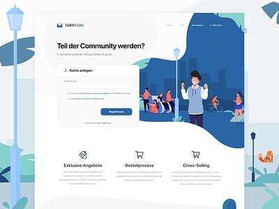 Tariffuxx - Customer Signup german flat sign up register page register design website illustration webdesign