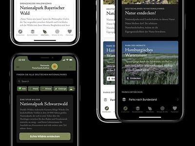 National Parks App Concept - Daily UI Challenge 001 daily ui daily adobexd nature national parks ionic iphone ios dark ui dark mode minimal design ui app