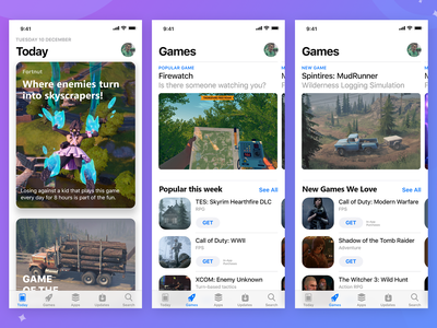 Games in the App Store - Daily UI Challenge 015 ui steam mudrunner spintires skyrim firewatch fortnite app design app cards gaming game ios concept design concept minimal dailyui