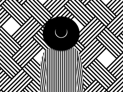 The Girl with a Beautiful Face black  white minimal shirt hat pattern face girl illustration