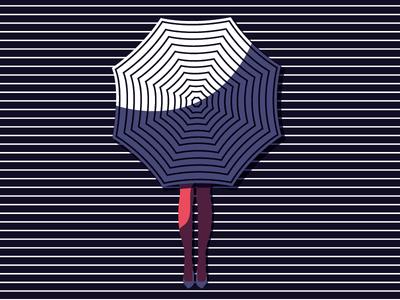 Rainy Days are coming graphic design optical rain fall umbrella color minimal art vector girl pattern illustration