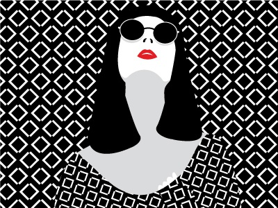 When the sun is out on a cold winter day black and white red lips flat design creative design graphic vector illustration pattern minimal girl