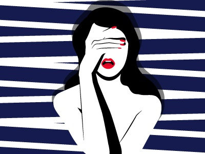 Oh Monday ... you b*astard  design flat design feeling mood monday red lips blue minimal pattern illustration girl