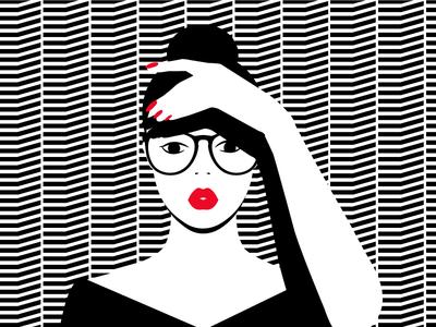 I spy with my little eye female beauty glasses feeling mood minimal pattern black red lips black  white girl illustration