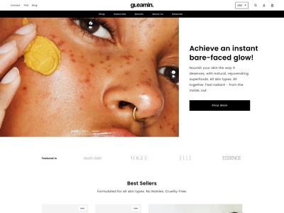 Gleamin Home Page shopify ecommerce website web development ux web design ui