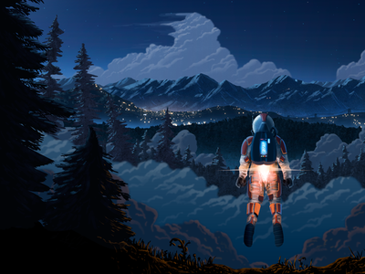 New Rocket Buddy Illustration redesign clouds mountain mountains color wip illustration
