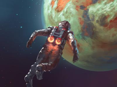 Badass Rocket Buddy - Floating digital illustration stars planet jetpack spacesuit space colorful illustration design ux ui