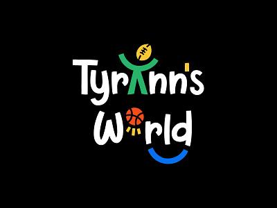 Tyrann's World friendly sports sport lettering kids funny colorful children basketball ball branding flat cute logotype logo
