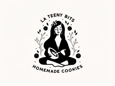 La Teeny Bits girl woman nature yoga sweets bake baker baking yum cooking cookies cozy homemade handmade hand drawn mascot cute character logo illustration