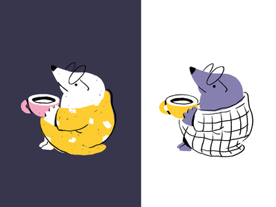 Relaxing Mole ☁️ texture cold minimal hand drawn coffee tea relaxing drinking cartoon weekend lazy mole animal drawing characterdesign flat cute character illustration