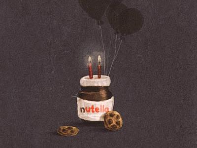 Birthday balloon paint cookie card digital paint illustration nutella birthday