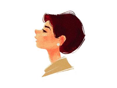 Audrey sketch character digital paint paint classic portrait illustration hepburn audrey