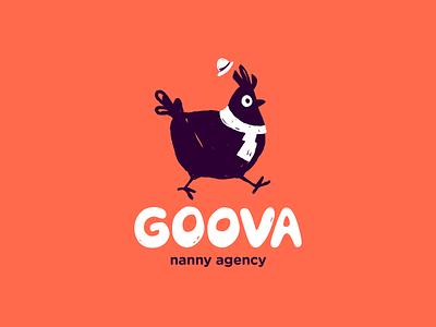 Goova nanny mascot logotype logo illistration hand drawn flat cute chicken character animal