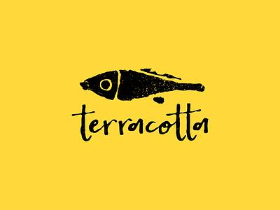 Terracotta texture hand drawn logocollaction mascot logotype logo character illustration fish