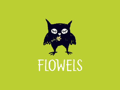 Flower Shop 🌿 hand drawn flower owl logo owl drawing logotype mascot cute logo character illustration