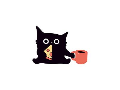 Perfect evening 🍕 animal pizza funny hand drawn mascot flat cute logo character illustration cat