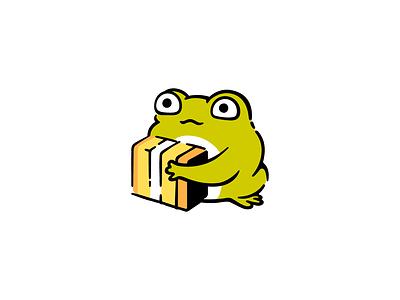 Post Delivery ✨ logotype logocollaction box mascot icon flat cute logo character illustration frog