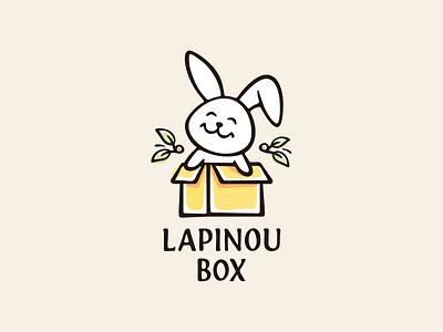 Lapinou Box 🍂 gift box rabbit bunny logotype mascot cute logo character illustration