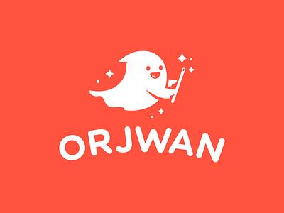 Orjwan store mascot flat ghost cute illustration charachter logotype logo