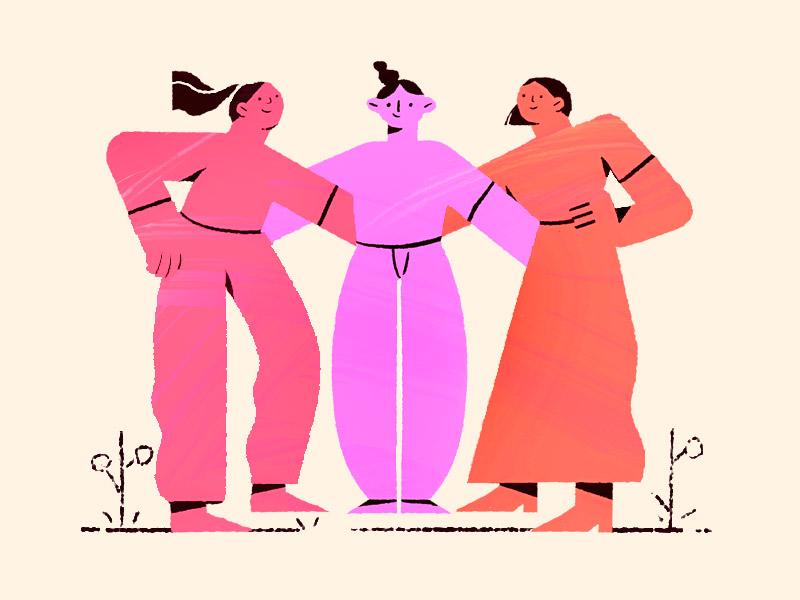 Friends summer girls friends team flat cute character illustration