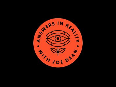 Answers In Reality badge flower philosophy logo mark symbol eye emblem logotype logo illustration