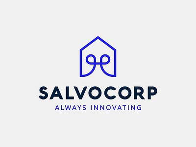 Salvocorp tech house innovation geometric branding line logo vector icon logotype flat logo
