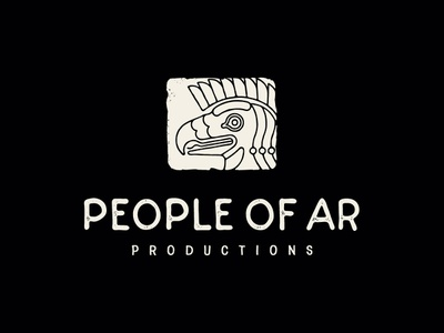 People Of Ar Productions line logo nisroch branding film armenia eagle vector logotype character logo illustration