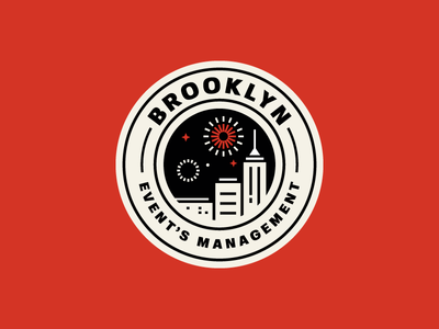 Brooklyn badgedesign badge fireworks building branding festival event design city brooklyn logotype flat logo illustration